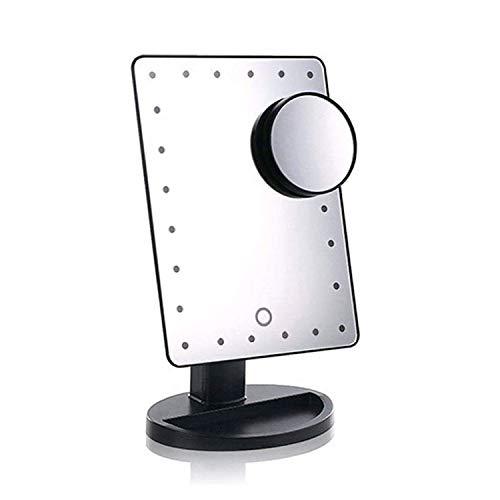 LoveSelfy Miroir Maquillage, 24 LED Lumière 10x Miroir Grossissant Lumineux Écran Tactile Rotation de 180 Degrés Éclairées Poche Luminosité Ajustable pour Voyage Toilettage Salle de Bain - Noir