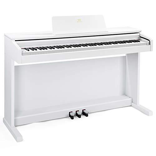 MUSTAR E-Piano 88 Tasten, Digital Piano, E-Klavier mit 3 Pedale Adapter,2 Anschlüsse für Kopfhörer,USB/MIDI,inkl.Klaviertuch Klassisch (Weiß)