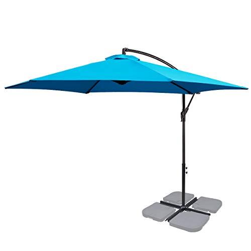 FRUITEAM 10FT Patio Offset Umbrellas Cantilever Umbrella, Large Hanging Market Umbrella Large with Crank & Cross Base, Waterproof UV Protection Outdoor Umbrella with Ventilation for Backyard/Garden…