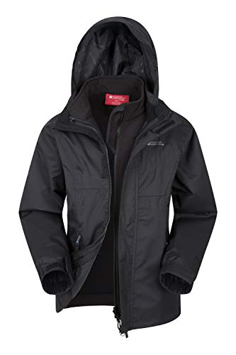 Mountain Warehouse Bracken Extreme Kids 3 in 1 Jackets - Waterproof Boys & Girls Rain Jacket, Breathable, Taped Seams, Mesh Lined Kids Coat - for Winter Travelling Black 9-10 Years