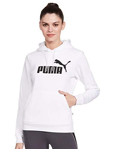PUMA ESS Logo FL Sudadera, Mujer, Blanco, XS