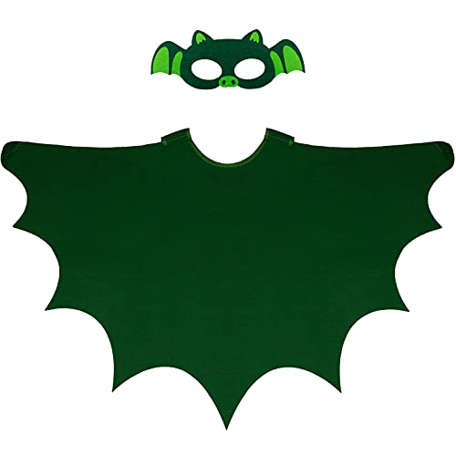 D.Q.Z Bat-Wings Costume Dress Up Cape & Mask for Kids, Boys Girls Cosplay Halloween Birthday Party Favors (Dark Green)