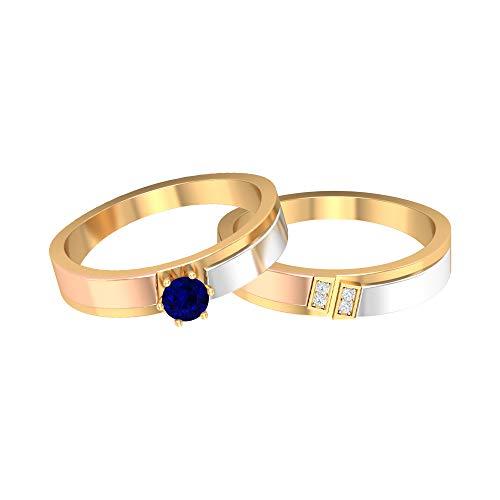 Anillo de zafiro azul solitario de 4,00 mm, anillos de diamante HI-SI, anillo de boda de 3 tonos, juego de anillos de pareja de oro (calidad AAA), oro de 14 quilates, Metal, Diamond Blue Sapphire,