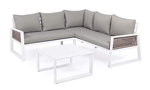 Salotto Angolare da Giardino Terrazzo in Alluminio Colore Bianco con Cuscini Grigi