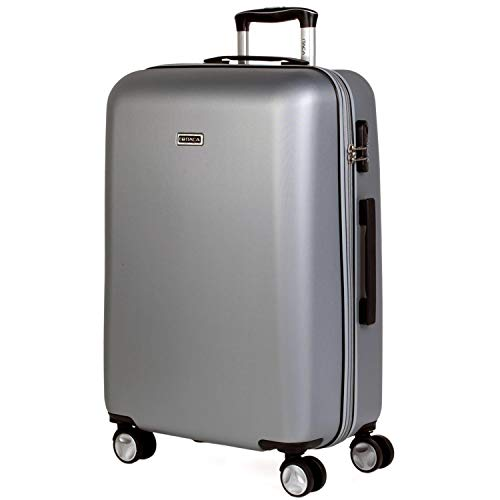 ITACA - Trolley Suitcase, 60 cm, Medium Size, ABS. Rigid, Resistant, Robust and Light. Telescopic Handle, 2 Retractable Handles, 4 Double Wheels T58060, Color Silver