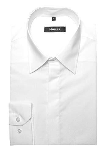 HUBER Hemd weiß mit Kentkragen und verdeckter Knopfleiste M