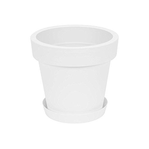 Maceta con plato de plástico Lofly, clásica, 25 cm de diámetro, color blanco
