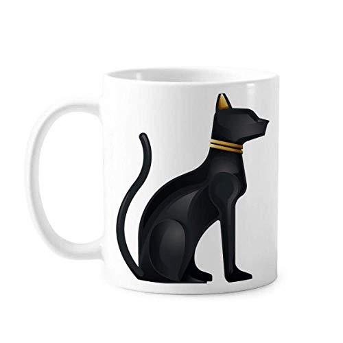 Taza de cerámica con diseño de gato negro abstracto de Egi