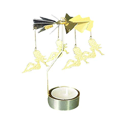 MIS1950s Xmas Best Gift Hot Spinning Rotary Metal Carousel Tea Light Candle Holder Stand Light Home Decor Valentine's Gift (8X13-J)
