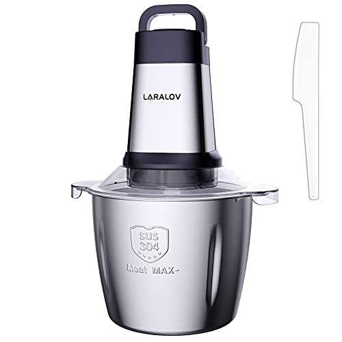 Electric Meat Grinder, LaraLov 500W &14 Cup Large Stainless Steel kitchen Food Processor Chopper for Meat Vegetables Onion and Nuts, 4 Sharp Blades & 3 Rotating Speed Levels(Included Spatula)