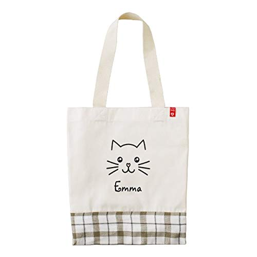 Cute Kawaii Kitten Cat Face With Pink Heart Nose Tote Bag, Travel Totes, Eco-friendly Canvas Bag With Zip And Large Front Pocket 12x16 In