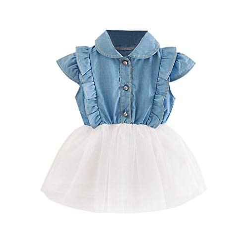 Longra babyjurk, meisjes, denim, kort, prinses, tutu jurk voor meisjes, avondjurk, baljurk, prinsessenjurk, bruiloft, feestjurk, bustier, avondjurk