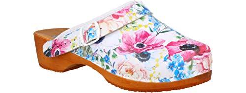 RBJ leather shoes .Holzschuhe aus Echtleder mit Holzsohle Leder Clogs Pantoletten (35 EU, Beige 874)
