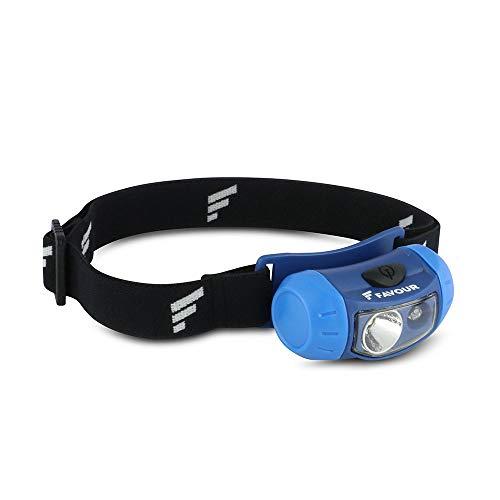Favour Outdoor Stirnlampe LED Kopflampe IPX4 wasserdicht, Verstellbarer Leuchtkopf, Rotlicht für Nachtsicht, leicht & kompakt, ideal für Sport und Freizeit, inkl. Batterie