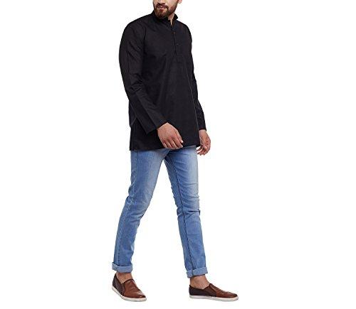 Royal Sojanya Men's Cotton Linen Short Kurtas Large Black