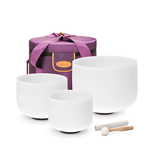 """TOPFUND Chakra Tuned Set of 3 Crystal Singing Bowls 8-12 inch with Heavy Duty Carrying Case and Singing Bowl Mallet Suede Striker (8"""" B 10"""" E 12"""" C)"""