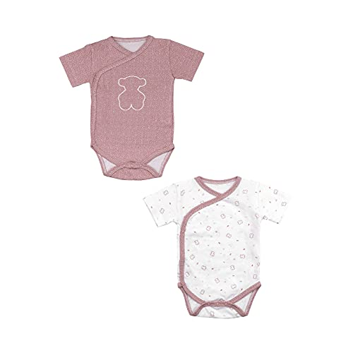 TOUS BABY - Set 2 bodys Manga Corta cruzados para tu Bebé. Estampado Chill. (Marrón, 6-12 meses)