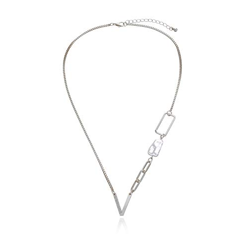 xMxDESiZ Colgante de Plata 925 Collar Colgante de la Letra Minimalista Crystal V para la Mujer Baroque Pearle Geometric Hollow Collares Collares Pendientes (Metal Color : V Silver Color)