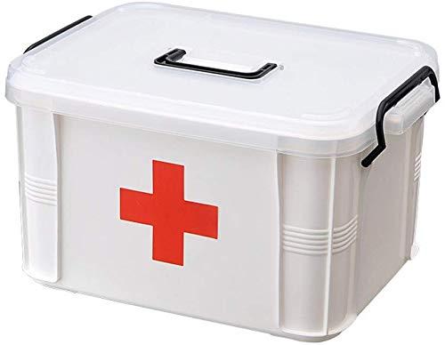 Baffect Double Layer Box Medizinische Aufbewahrungsbox Chest, Hand tragen Medizin Pille Speicher Erste Hilfe Installationssatz Kasten Kasten Haushalt Mehrschicht Haus Medizin Behälter (L)