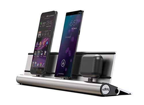 udoq 400 Ladestation für mehrere Geräte, hochwertiges Design 4mm Aluminium, für Handy Tablet eReader Powerbank, Silber