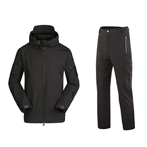 Hommes Automne Hiver imperméable Militaire de Camouflage Peau de Requin Soft Shell Tactique Vêtements Toison Combat Suit Vitesse Black XL