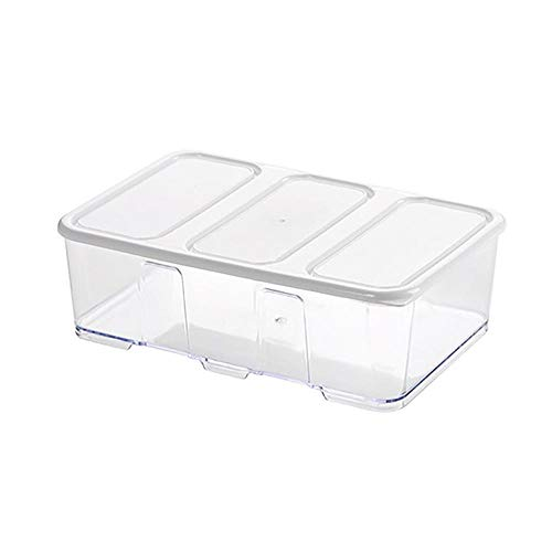 Fszhen-canh 1600/1000/700ML Freezer Storage Box Stackable Plastic Food Storage Containers with Lid Kitchen Cabinet Desk Organizer (Color : White 1600ml)