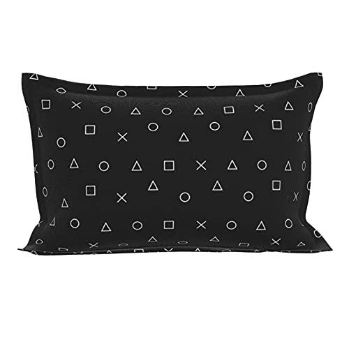 Funda de almohada oblonga lumbar, diseño de jugador, símbolo de mando de Playstation, funda de almohada decorativa, tamaño queen con cierre de sobre, 50 x 76 cm