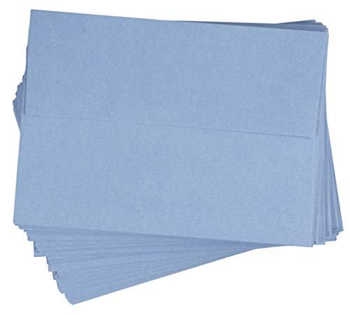 A7 Envelopes - 96-Pack Invitation Envelopes, 5x7 Gummed Seal Square-Flap Invite Envelope for Wedding, Holiday, Birthday, Baby Shower, 120gsm, Light Blue, 5.25 x 7.25 inches