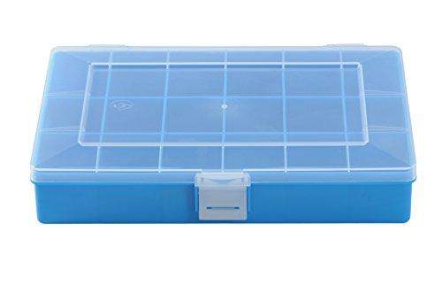 hünersdorff Sortimentskasten: stabile Sortierbox (PP) mit fester Fachaufteilung (18 Fächer), Sortierkasten-Maße: T170 x B250 x H46 mm, Made in Germany