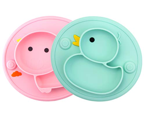 Baby Plate Silicone Suction Toddler Plates, DividedDishes for Toddler Kids Babies SelfFeeding,Microwave&DishwasherSafe (Duck Cyan/Pink Pig)