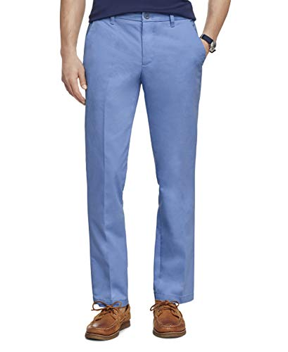 IZOD Men's Performance Stretch Straight Fit Flat Front Chino Pant, True Federal Blue, 36W x 30L