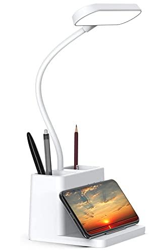 Lámpara de mesa con soporte para bolígrafos, Domemit LED Lámpara de escritorio con 3 niveles de brillo 3 modos de iluminación Lámpara de mesa recargable para lectura nocturna, niños, estudio, regalo
