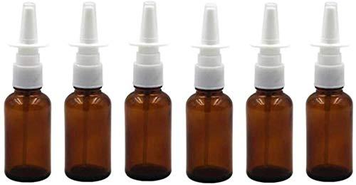 6 unids 30 ml/1 oz vacío recargable ámbar vidrio nasal rociadores frasco botella tarro Snoot bomba de almacenamiento de spray limpio envase muestra atomizadores para cosméticos