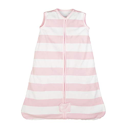 Burt's Bees Baby Baby Beekeeper Wearable Blanket, 100% Organic Cotton, Swaddle Transition Sleeping Bag, Rugby Stripe Blossom, Small