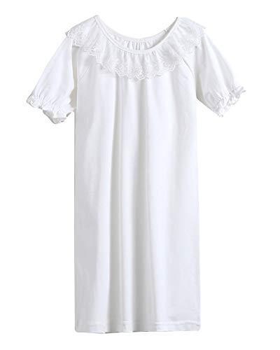 Niñas Camisón De Encaje Camisetas De Pijama Manga Corta T Shirts Vestido Blanco 120CM