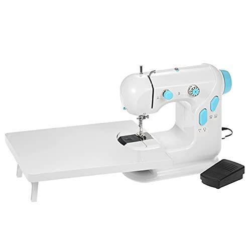Máquina de Coser Mini Máquina De Coser con Mesa De Extensión Doble Rosca Doble Velocidad LED Pedal De Pies para Cortinas Manteles (Color : White+Blue, Size : One Size)
