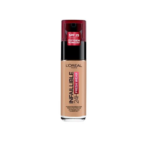 L'Oréal Paris Make up, Wasserfest und langanhaltend, Flüssige Foundation mit LSF 25, Infaillible 24H Fresh Wear Make-up, Nr. 145 Rose Beige, 30 ml