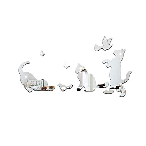 Vosarea Slber Acryl Wandaufkleber Modern Design Spiegel Wand Aufkleber Hintergrund Deko Katze Wandaufkleber