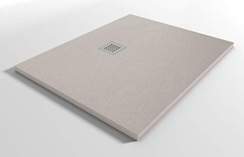 Plato de ducha reducido de resina mineral StoneLine, pequeño, fabricado en Italia, color arena, 80 x 70 cm