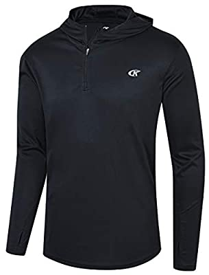 Satankud Mens UPF 50+ UV Sun Protection Athletic Hoodie Thumb Long Sleeve Fishing Shirt Black Medium