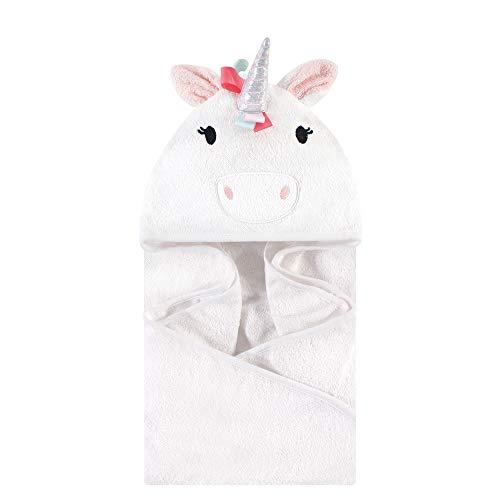 Hudson Baby Animal Face Hooded Towel, Rainbow Unicorn, One Size