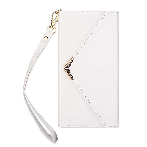 Artfeel Leder Brieftasche Hülle für Samsung Galaxy S10+/S10 Plus,Mädchen Frauen Geldbörse Handytasche mit Kartenhalter,Flip Magnetverschluss Schutzhülle mit Handschlaufe-Weiß