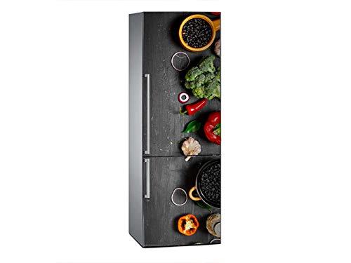 Oedim Vinilo para Frigorífico Dibujo Verdura 185x60cm | Adhesivo Resistente y Económico | Pegatina Adhesiva Decorativa de Diseño Elegante