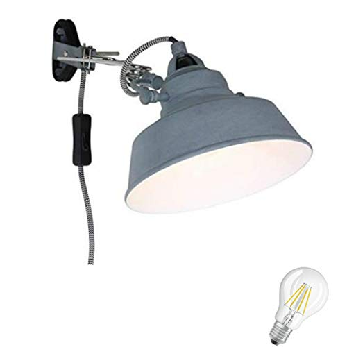 STEINHAUER 1320GR LED Retro Klemmleuchte Regal Lampe Bett Leseleuchte Klemmlampe Vintage Leselicht in grau,inkl. 6 Watt Filament Edison Vintage Led !