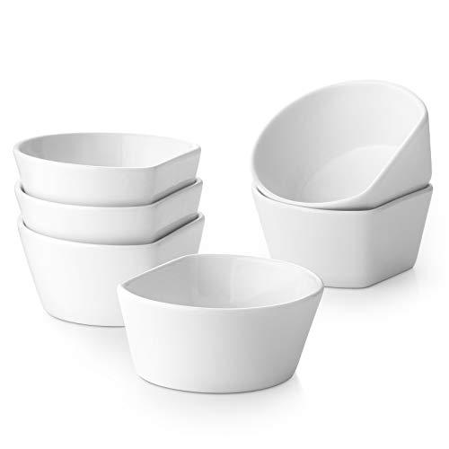 DOWAN 8.5oz Ramekins, Ramekins for Creme Brulee and Pudding, Porcelain Ramekins Oven Safe, White Ramekin Bowls for Oven Baking, Souffle Ramekins Dishes/Pudding Cups, Set of 6