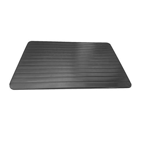 QLJ Tiefkühlkost Schnell Aluminium-Auftautablett Schnell auftauende Platte Küchenchef Kochwerkzeug ohne Strom - Schwarz