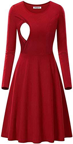 Fliegend Damen Stillkleid Umstandskleid Mutterschaftskleid Vintage Kleider für Schwangere Langarm Elegante Swingkleider Stillkleidung S