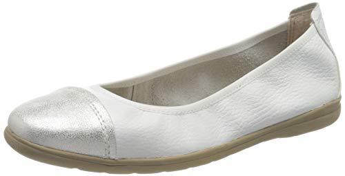 Jana 100% comfort 8-8-22105-24, Ballerines fermé Femme, Blanc White Silver 191, 39 EU