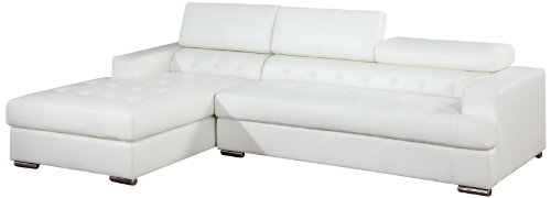 Hot Sale Furniture of America Alair Bonded Leather Sectional Sofa with Adjustable Headrests, White