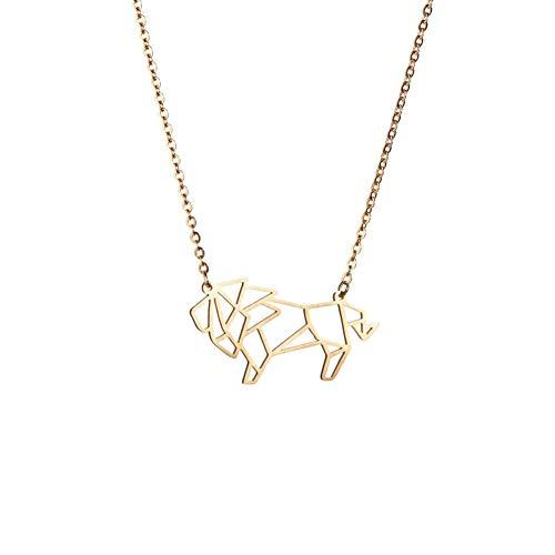 La Menagerie Löwe Gold, Origami-Schmuck & vergoldete geometrische Kette - 18-karätig Goldkette & Löwe-Halsketten für Frauen - Löwe-Halskette für Mädchen & Origami-Halskette